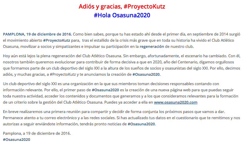 Proyecto Kutz se transforma en Osasuna 2020