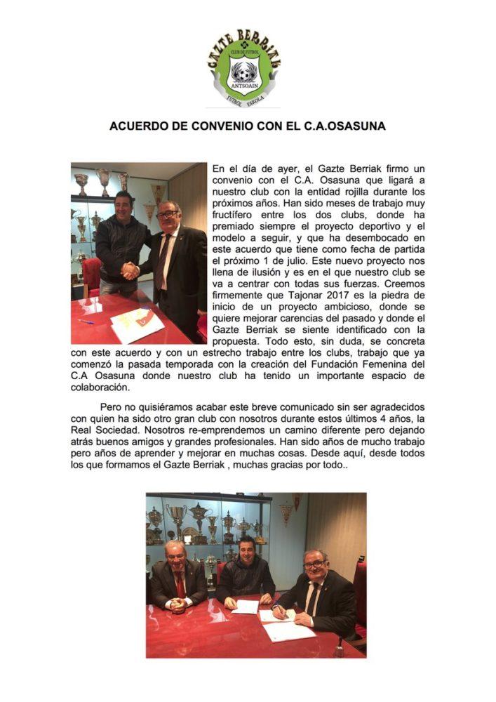 El Gazte Berriak rompe su acuerdo con la Real Sociedad y se convierte en club convenido de Osasuna