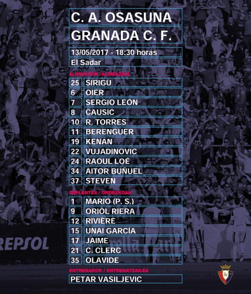 Esta es la alineación de Osasuna contra el Granada