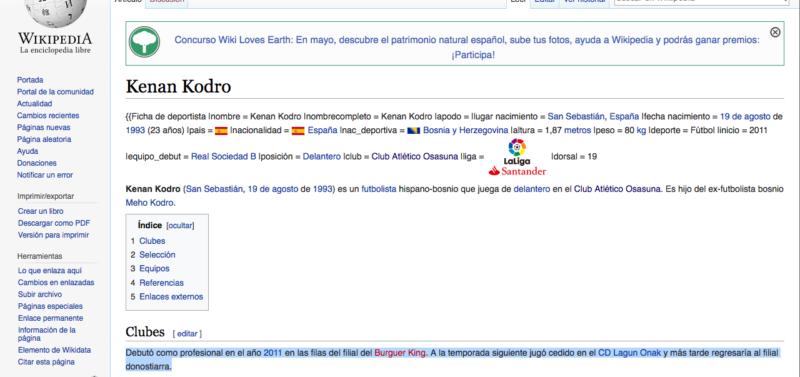 La Wikipedia se 'mofa' de Kenan Kodro