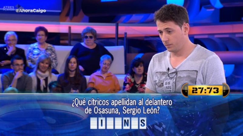 El segundo apellido de Sergio León se convierte en pregunta del programa 'Ahora Caigo'