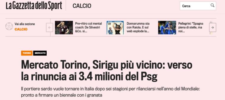 Salvatore Sirigu está a un paso de firmar por el Torino de la Seria A