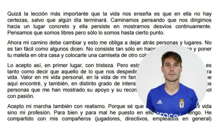 Jon Erice se despide del Oviedo y responde a sus críticos