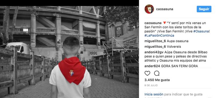 La cuenta de Instagram de Osasuna es de Primera