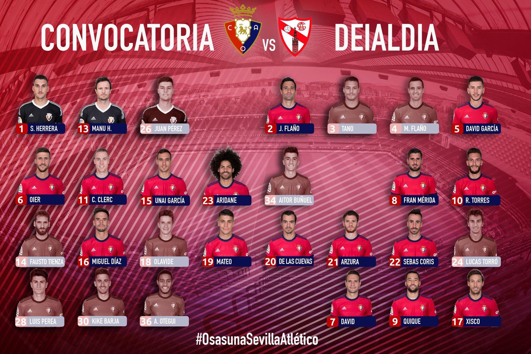 Esta es la convocatoria de Osasuna contra el Sevilla Atlético