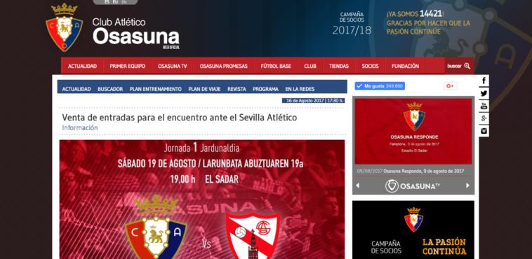 Precio de las entradas para el Osasuna-Sevilla Atlético