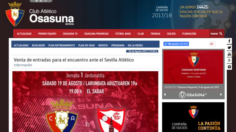 Entradas Osasuna Sevilla Atlético