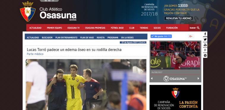 La lesión de Lucas Torro con Osasuna se queda en un susto